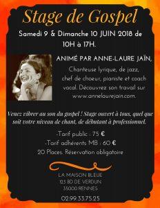 Stage Gospel : 9 et 10 juin animé parAnne-Laure Jaïn